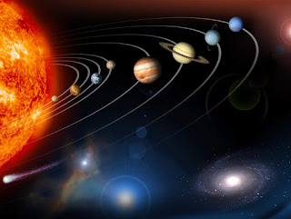 Image of solar system with orbits of planets shown.