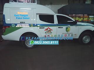 Pengiriman Mobil Mitsubishi Strada dari Karoseri Gresik tujuan ke Dinas Kesehatan kota Palangkaraya Kalimantan Tengah door to door dengan kapal roro dan driving, perkiraan perjalanan 2 hari..