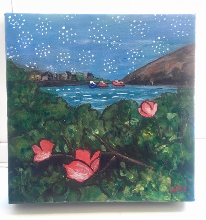 Wild roses in Peggy's cove - Original painting