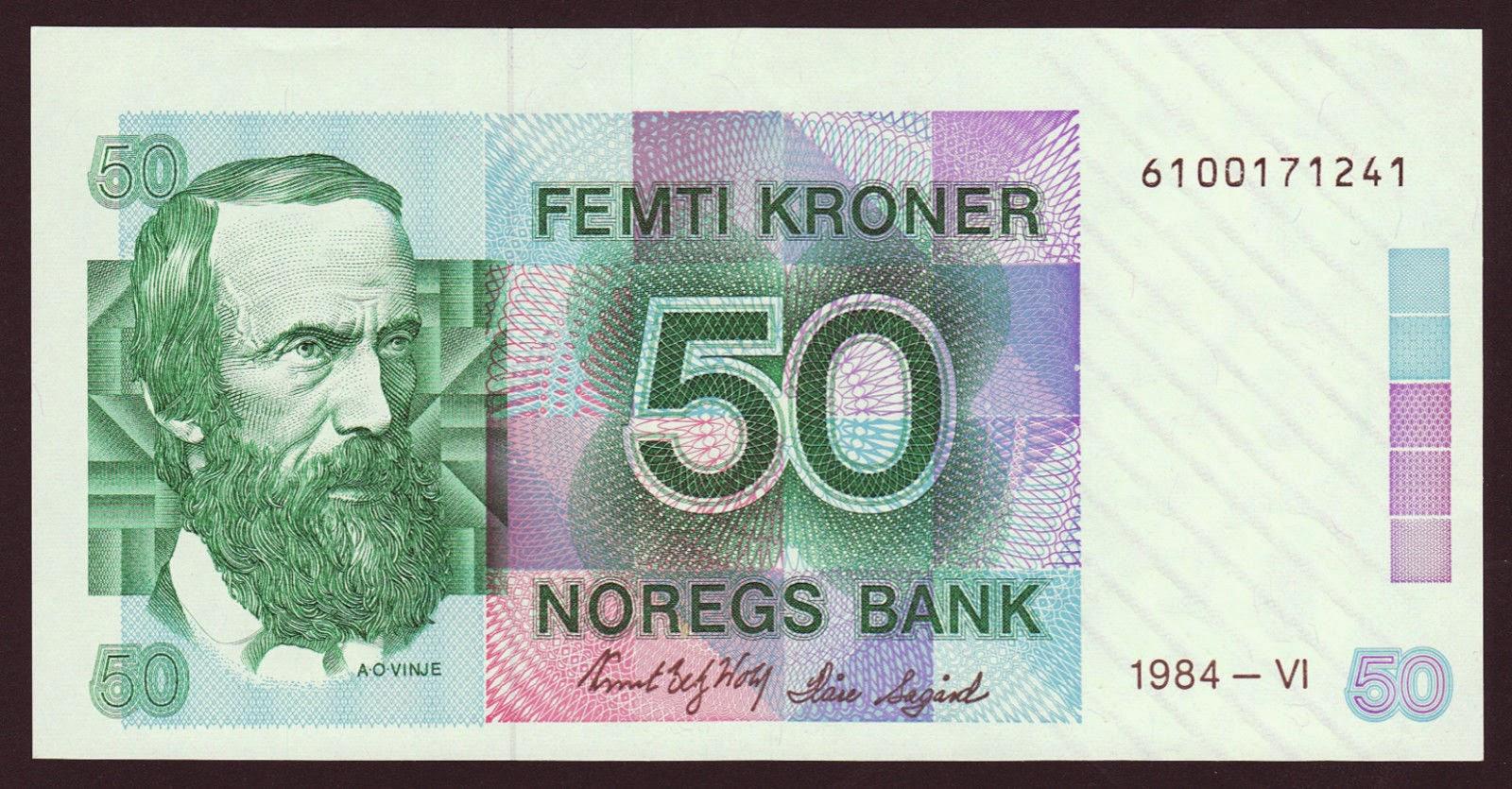 Norway Banknotes 50 Kroner banknote 1984 Aasmund Olavsson Vinje
