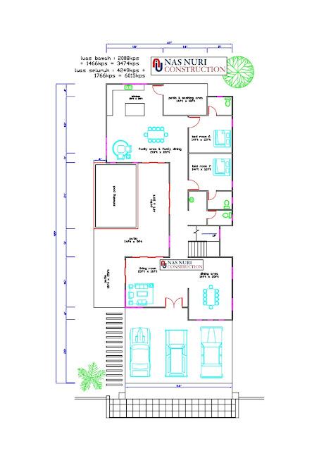 Pelan rumah 2 tingkat 7 bilik tidur 6 bilik air aras bawah