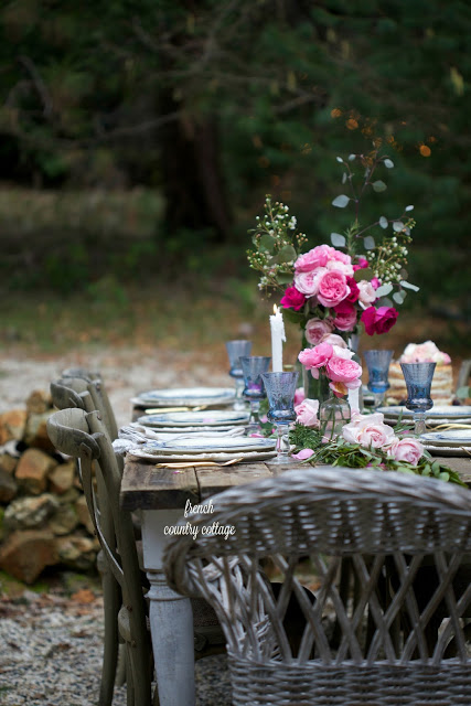 romantic inspired table setting outdoors