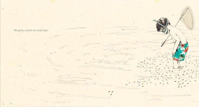 """Una página del cuento ilustrado por María Herguera """"Cuando no estás aquí"""""""