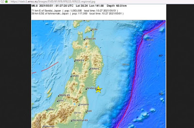 Strong Magnitude 6.6 Earthquake Strike Off Northeastern Japan