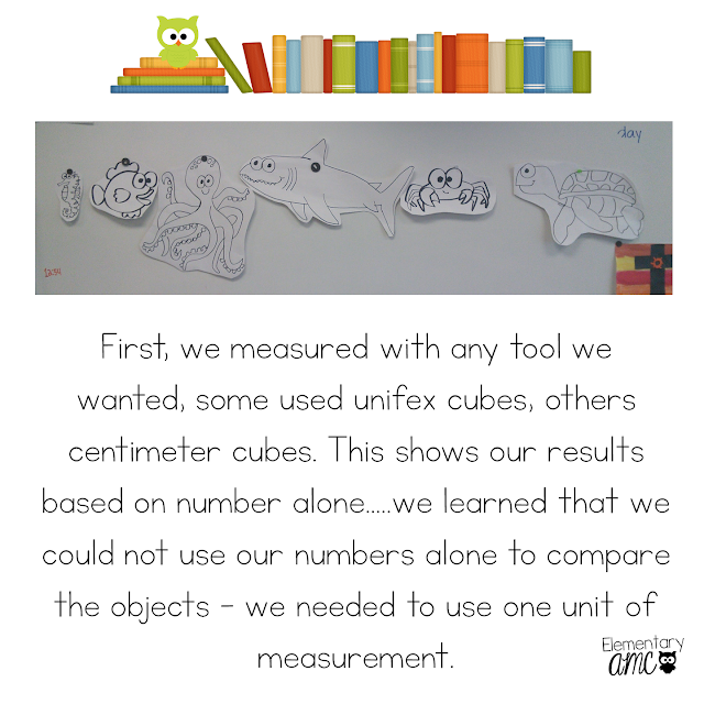 Mentor text and measurement ideas for a primary classroom
