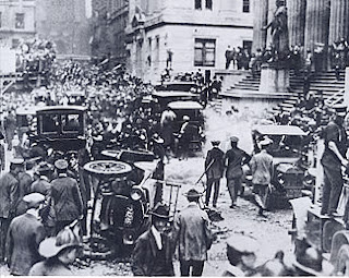 The aftermath of the Wall Street bombing of 1920, which was blamed on Galleani's supporters in the United States