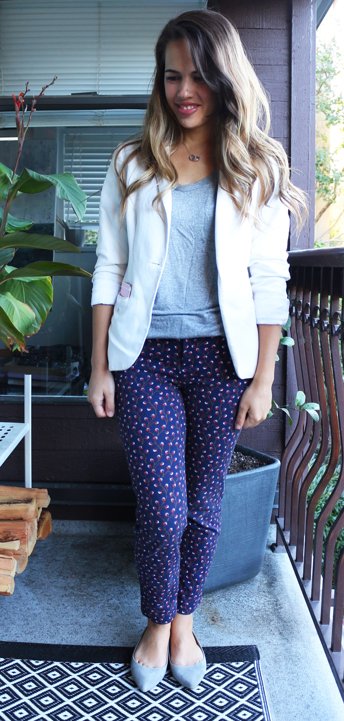 Jules in Flats September Outfit - H&M Blazer, Old Navy Pixie Pants