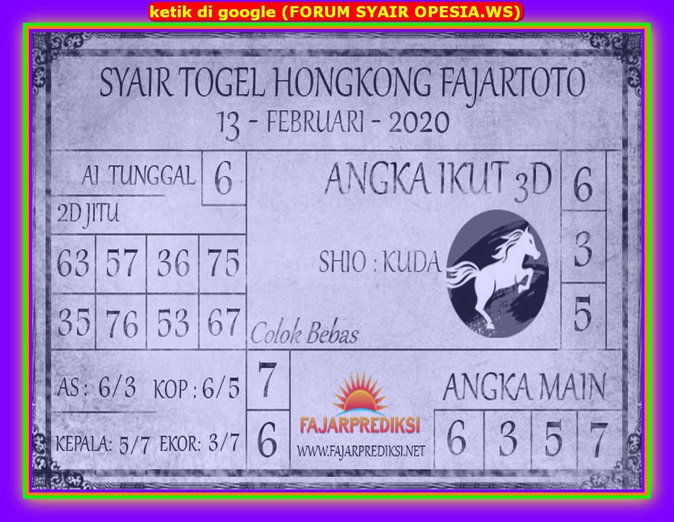 Kode syair Hongkong Kamis 13 Februari 2020 157