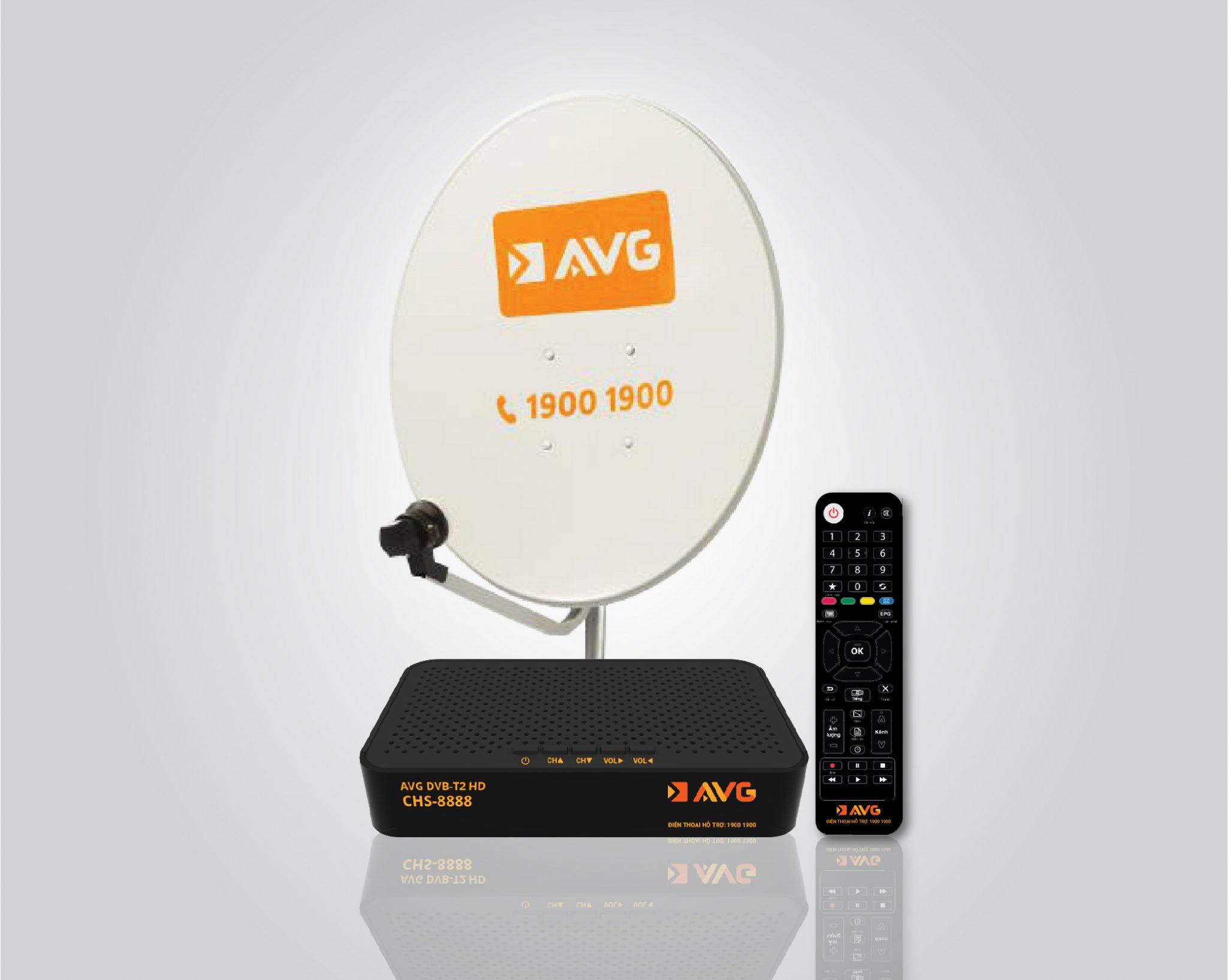 Hình ảnh bộ thiết bị đầu thu + chảo thu tín hiệu DTH của AVG