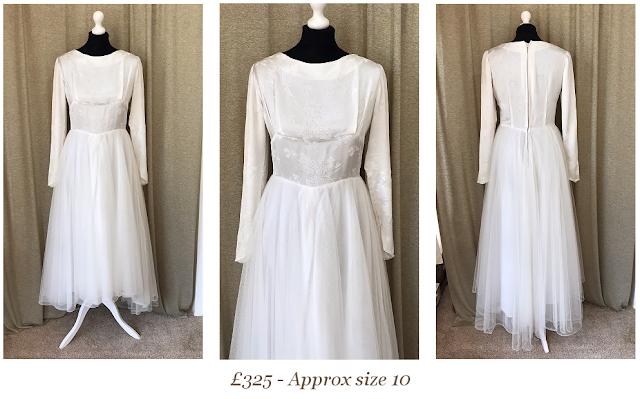 long sleeve tulle tea length 1950's vintage wedding dress from vintage lane bridal boutique bolton