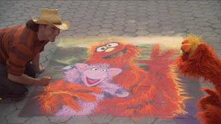 Murray and Overita, People in Your Neighbourhood, Joe Mangrum, sand painting, Sesame Street Episode 4407 Still Life With Cookie season 44