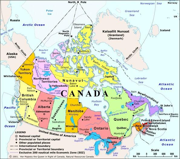 Kanadaja | Hartat gjeografike në Kanadasë