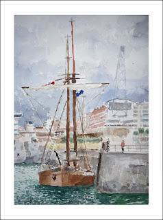 Acuarela del puerto de Santander
