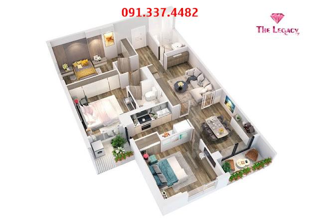 Mặt bằng căn hộ chung cư The Legacy 106 Ngụy Như Kon Tum
