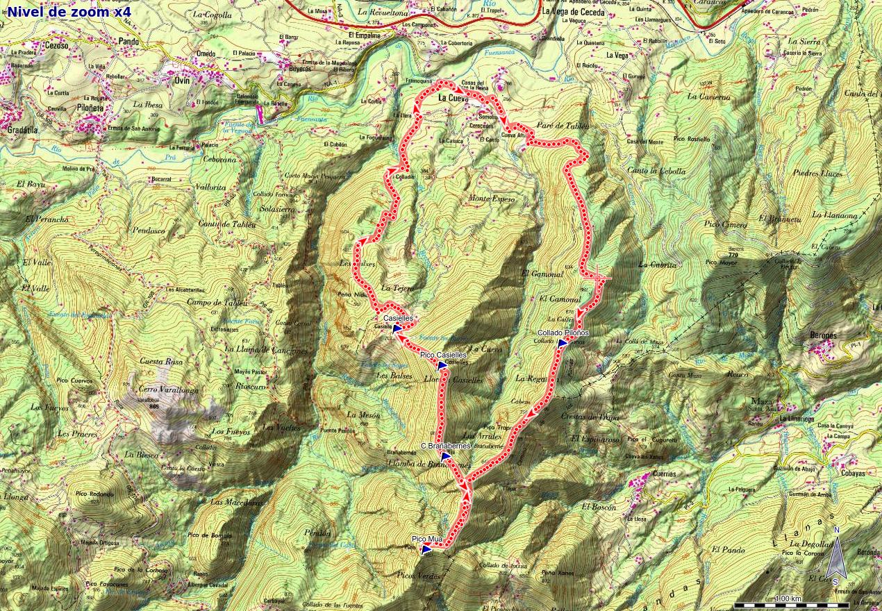 Mapa de la ruta PR AS-46 Picos Múa y Casielles