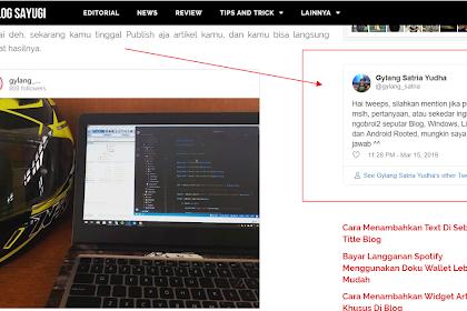 Cara Menambahkan Embed Twitter Kedalam Blog
