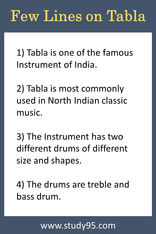 Lines on Tabla in English