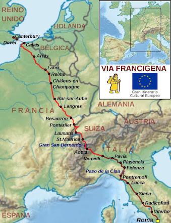 Via Francigena ia até Roma. Em sentido contrário fazia uma parte até Compostela