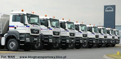 Pojazdy MAN dla firmy Eurovia jeszcze na terenie fabryki w Niepołomicach