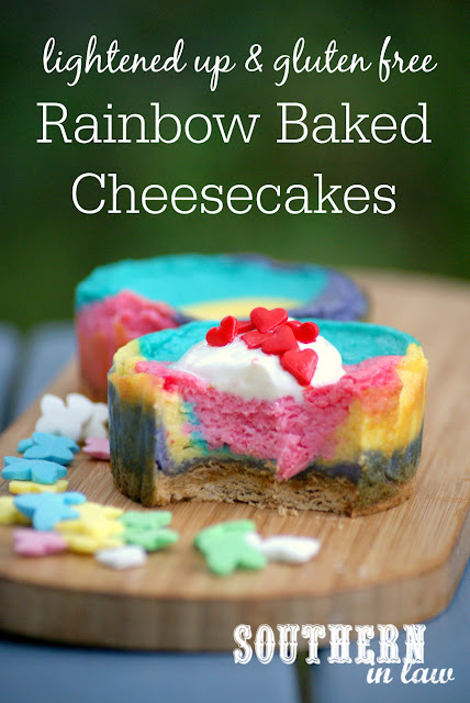 Healthy Rainbow Baked Cheesecake Recipe - low fat, gluten free, healthy, sugar free, easy, simple, low calorie, tie dye cheesecakes