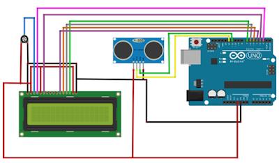 Jarak Sensor Ultrasonic ditampilkan ke LCD 16X2 Arduino