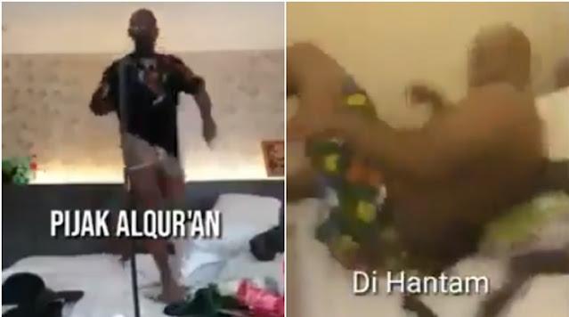Pria Ini Injak Alquran Sambil Joget Pakai Celana Dalam, Endingnya Kena Hantam