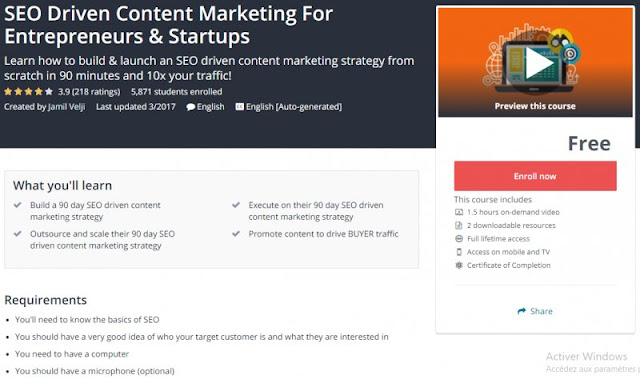 [100% Free] SEO Driven Content Marketing For Entrepreneurs & Startups