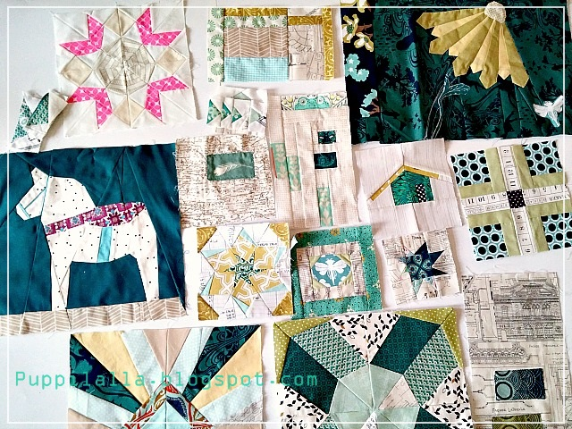 Quilt blocks, sampler quilt, Puppilalla, improv piecing, foundation paper piecing