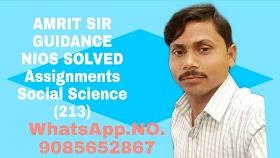 NIOS FREE SOLVED ASSIGNMENTS SUBJECT NAME:SOCIAL SCIENCE(213) TMA/2019-2020 HINDI MEDIUM