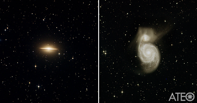 M104 - The Sombrero Galaxy in Virgo (left) and M51 - The Whirlpool Galaxy in Canes Venatici (right) both imaged on ATEO-1 by Charles Weaver using Insight Observatory's online Personal Image Request (PIR) application.