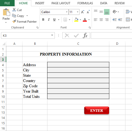 Sample data entry application interface