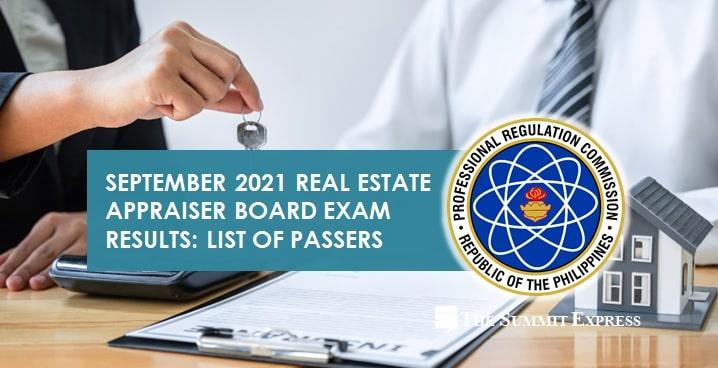 FULL RESULTS: September 2021 Real Estate Appraiser board exam list of passers