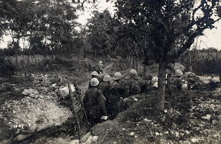 An Italian unit take up their positions in a trench during the month-long Battle of Caporetto in the First World War