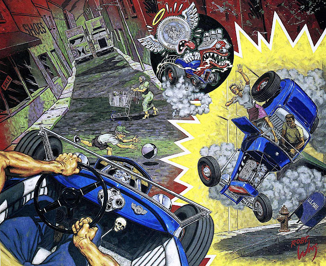 a Robert Williams painting of street racing cars crashing out of control