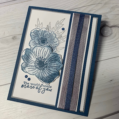 Blue floral card using Back To Back Blooms Stamp Set
