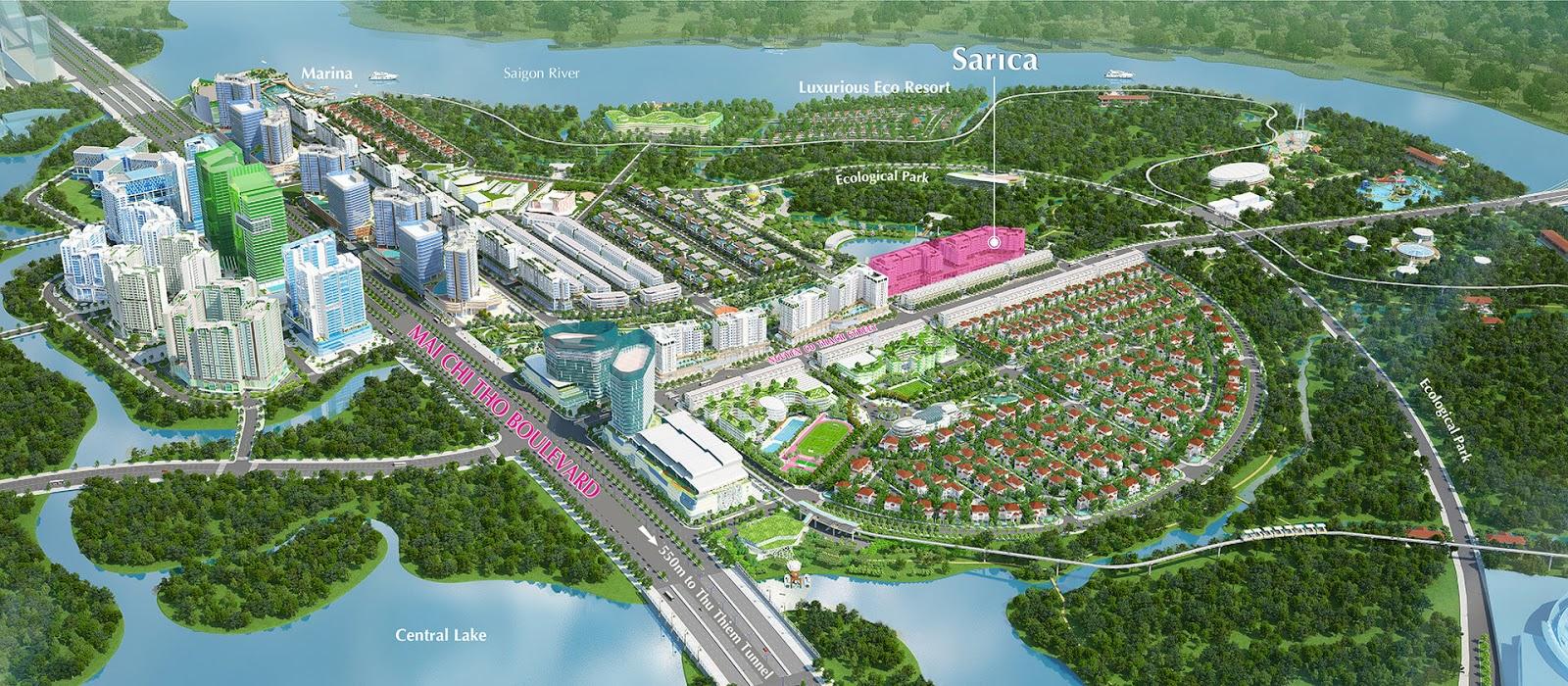 Vị trí khu căn hộ cao cấp Sarica - Khu đô thị Sala