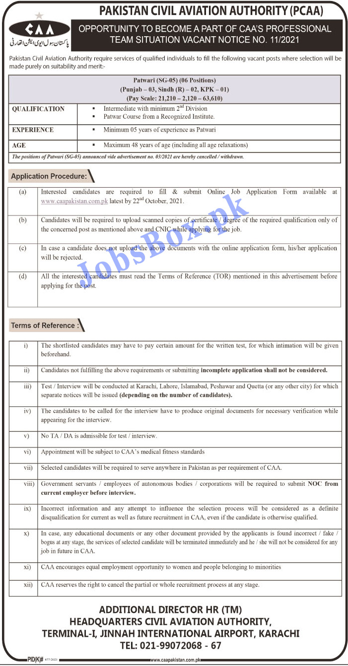 Pakistan Civil Aviation Authority PCAA Jobs Opportunities 2021