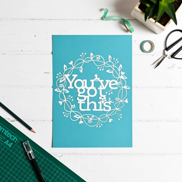paper cutting, You've Got This, cutting mat, and tools