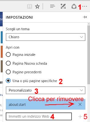 Cambiare pagina iniziale Microsoft Edge