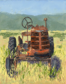 painting impressionist tractor farmall offset high crop abandoned rusty