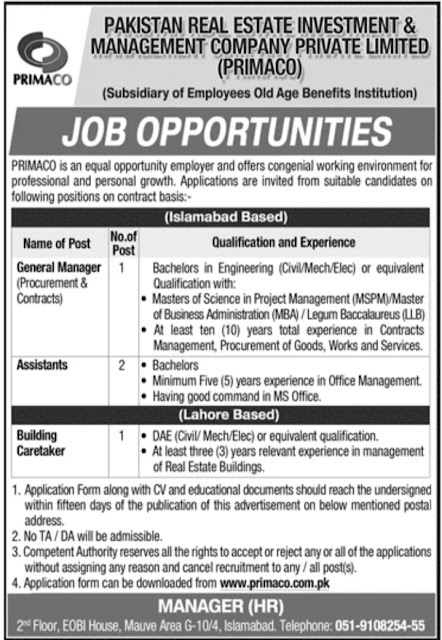Pakistan Real Estate Investment & Management Company PRIMACO Jobs