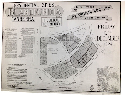 Blandfordia real estate poster, 1924.  Terms and conditions listed on the left-hand side. Locality map (bottom right) retains much of Walter Burley Griffin's original plan for Canberra, notably the geometric street designs and three distinct basins of the central lake.  Source: HMSS 0182 W. G. Woodger and Family Papers