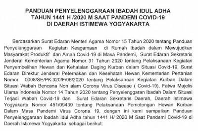 Panduan Idul Adha Tahun 2020 Kementerian Agama DIY