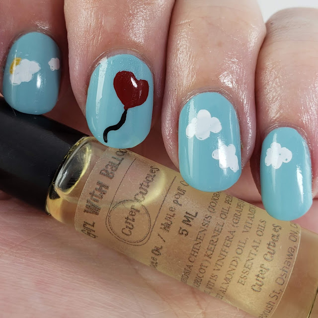 cuter cuticles, april polish pick up, polish pick up, barrier butter, cuticle oil, cherry almond, girl with balloon, nail art, indie maker, handmade