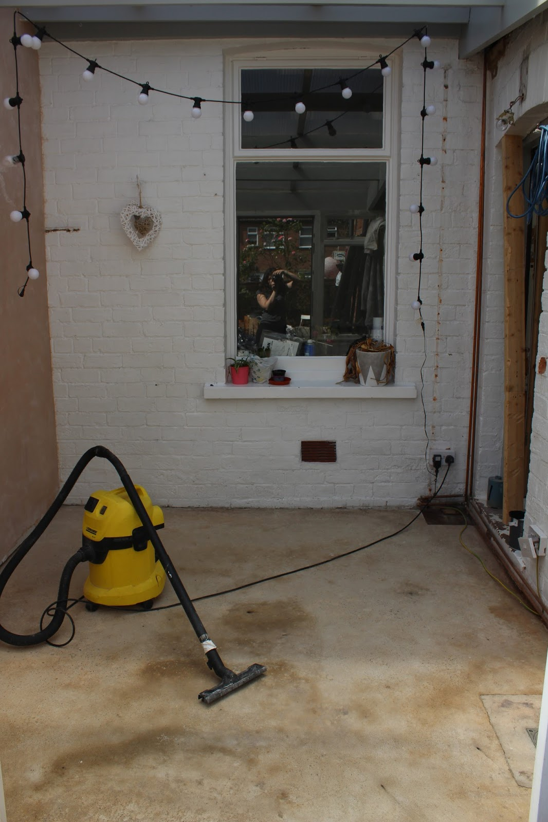 cleaning a concrete floor