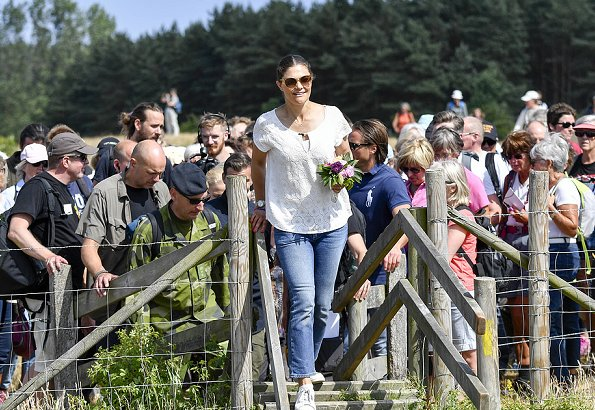 Crown Princess Victoria wore Boomerang Clothing, Boomerang lace top and Adidas Stan Smith sneakers
