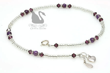 Amorous Love Amethyst Crystal Heart Charm Anklet (A117)
