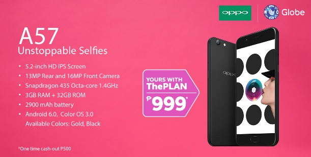 OPPO A57 Now Available At Globe Postpaid Through Plan 999