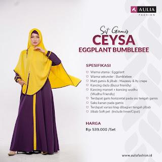Koleksi Gamis Syari Muslimah  Ceysa Eggplant Bumblebee Set by AULIA Fashion