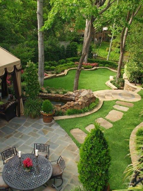 landscape design of the hilly backyard